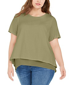 Plus Size Chiffon-Trim T-Shirt