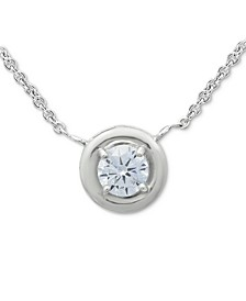"Cubic Zirconia Framed 16"" Pendant Necklace, Created for Macy's"