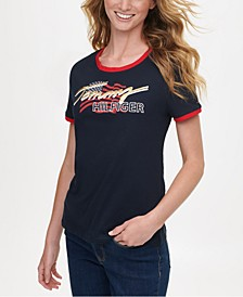 Cotton Short-Sleeve Graphic Logo T-Shirt