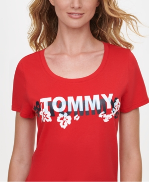 Tommy Hilfiger COTTON FLORAL LOGO T-SHIRT, CREATED FOR MACY'S