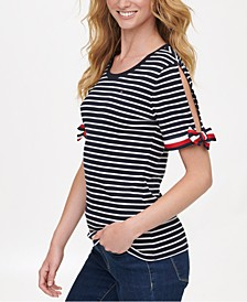 Cotton Striped Tie-Sleeve Top, Created for Macy's