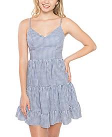 Juniors' Bow-Back Seersucker Dress