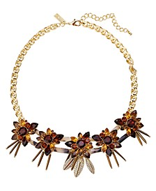 """INC Gold-Tone Pavé & Stone Tortoise-Look Flower Statement Necklace, 18"""" + 3"""" extender, Created for Macy's"""