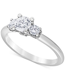 Diamond (1 ct. t.w.) Three-Stone Engagement Ring in 14k White Gold