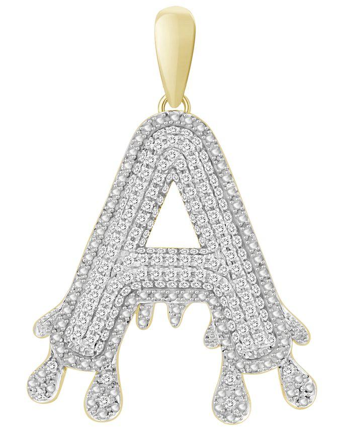 Macy's - Men's Diamond (1/3 ct.t.w.) Dripping Initial Pendant in 10K Yellow Gold