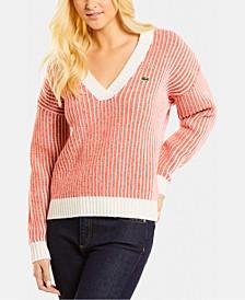 Wool Striped V-Neck Sweater
