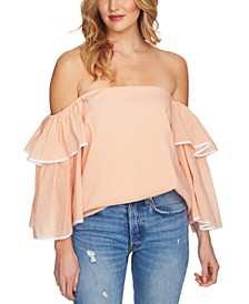Ruffle Bell-Sleeve Off-The-Shoulder Top