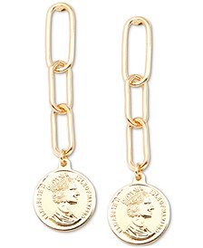 Gold-Tone Coin Drop Earrings