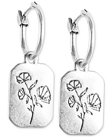 Silver-Tone Flower Rectangle Charm Hoop Earrings