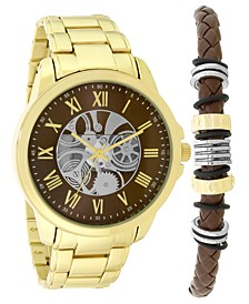INC Men's Gold-Tone Bracelet Watch 45mm & Two-Tone Beaded Leather Bracelet Box Set, Created for Macy's