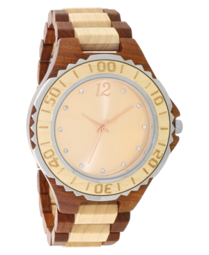 INC INTERNATIONAL CONCEPTS INC MEN'S TWO-TONE WOOD BRACELET WATCH 45MM, CREATED FOR MACY'S