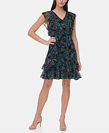 Flutter-Sleeve Paisley-Print Burnout Dress