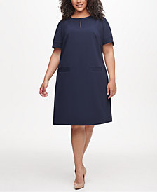 Tommy Hilfiger Plus Size Hardware-Sleeve Shift Dress