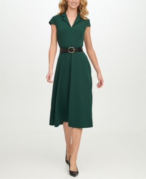 Cottagecore Dresses Aesthetic, Granny, Vintage Calvin Klein Belted Scuba-Crepe Fit  Flare Midi Dress $79.99 AT vintagedancer.com