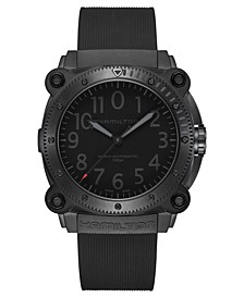 Men's Swiss Automatic Khaki Navy BeLOWZERO Black Rubber Strap Watch 46mm - A Limited Edition