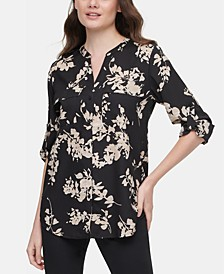 Printed Tab-Sleeve Top