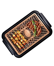 Nonstick Ti-Ceramic Electric Smoke-less Indoor Grill with Smoke Extraction Fan