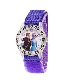 Disney Frozen 2 Elsa and Anna Girls' Clear Plastic Time Teacher Watch 32mm