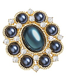 Gold-Tone Crystal & Navy Imitation Pearl Cluster Pin, Created for Macy's