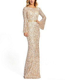 Open-Back Sequin Gown
