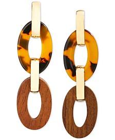 INC Gold-Tone Tortoise-Look & Wood Oval Linear Drop Earrings, Created for Macy's