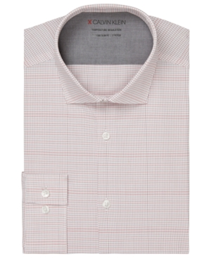 Calvin Klein MEN'S EXTRA-SLIM FIT NON-IRON PERFORMANCE STRETCH TEMPERATURE REGULATION CHECK DRESS SHIRT