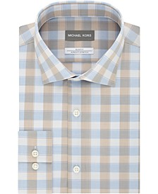 Men's Airsoft Slim-Fit Performance Stretch Check Dress Shirt