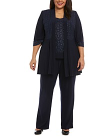 Plus Size 3-Pc. Glitter Jacket, Top & Pants Set