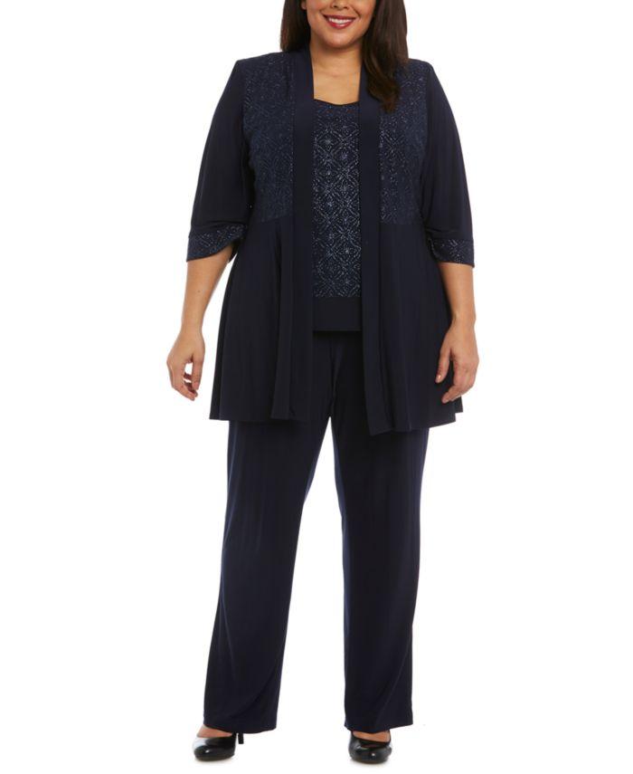 R & M Richards Plus Size 3-Pc. Glitter Jacket, Top & Pants Set & Reviews - Dresses - Plus Sizes - Macy's