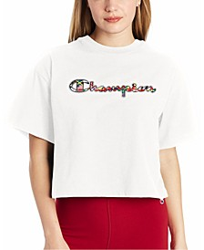 Women's Printed-Logo Cropped T-Shirt