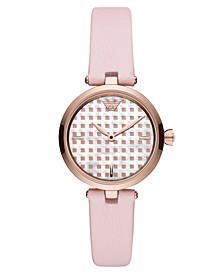 Women's Pink Leather Strap Watch 32mm