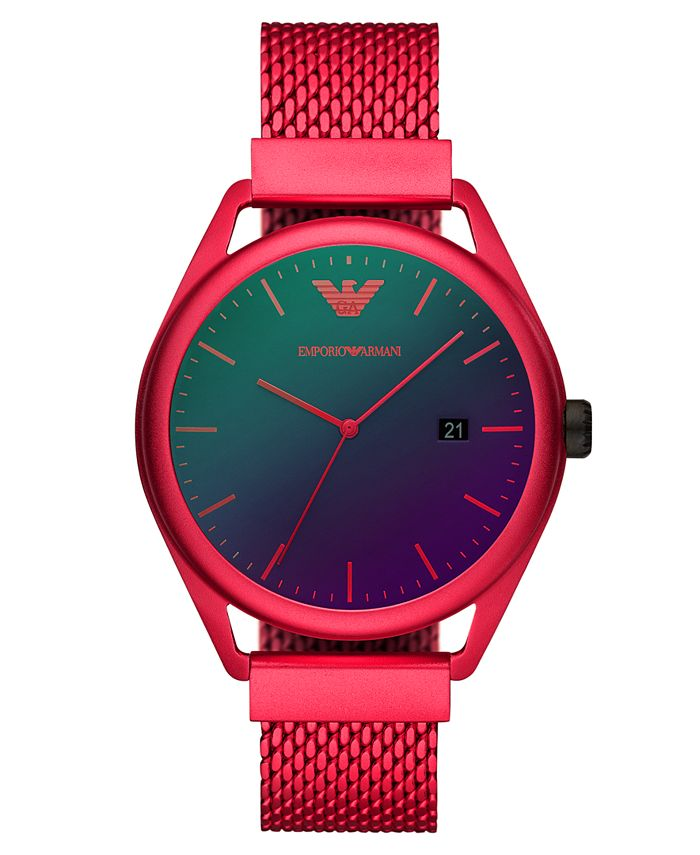 Emporio Armani - Men's Red Aluminum Mesh Bracelet Watch 43mm