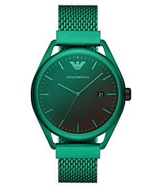 Men's Green Aluminum Mesh Bracelet Watch 43mm