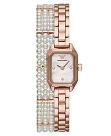 Women's Rose Gold-Tone Stainless Steel & Freshwater Pearl Double-Wrap Bracelet Watch 25mm