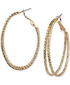 Gold-Tone Textured Double-Row Hoop Earrings, Created for Macy's