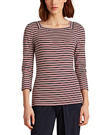 Petite Striped Cotton-Blend Top
