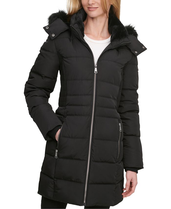 DKNY - Faux-Fur-Trim Hooded Puffer Coat