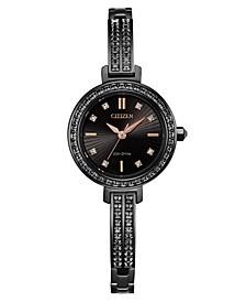 Eco-Drive Women's Black Stainless Steel & Swarovski Crystal Bangle Bracelet Watch 25mm
