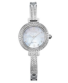 Eco-Drive Women's Stainless Steel & Swarovski Crystal Bangle Bracelet Watch 25mm