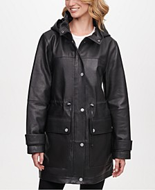 Hooded Leather Anorak Jacket