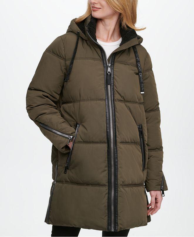 DKNY Fleece-Lined Hooded Puffer Coat