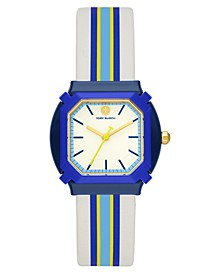 Women's Blake Blue Stripe Leather Strap Watch 34mm