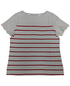 Plus Size Striped Eyelet-Yoke Knit Top, Created for Macy's
