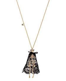 Pave Skeleton Pendant Long Necklace