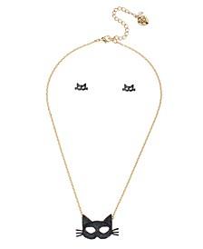 Cat Mask Pendant Stud Earrings Set