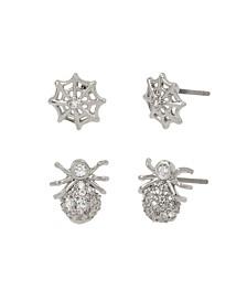 Cubic Zirconia Spider Web Duo Stud Earrings Set