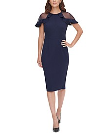 Ruffled Sheer-Sleeve Sheath Dress