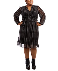 Plus Size Pintucked Dot-Print Fit & Flare Dress