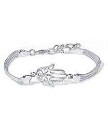 Fine Silver Plate Hamsa Hand Bracelet