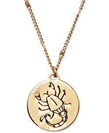 "Gold-Tone Zodiac Disc Pendant Necklace, 17"" + 3"" extender"